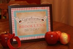 Apple of My Eye Birthday Party Sign | Girls Fall Autumn | Apple Birthday Welcome Sign | Red Gingham Vintage Rustic Digital Printable by SimplyPutPrintables on Etsy