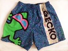 VTG 80s Gecko Hawaii Elastic Waist Blue Neon Dot Shorts Youth Surf Skate S #GeckoHawaii #Everyday