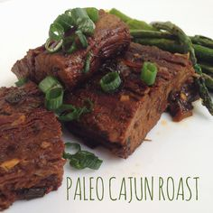 A delicious and flavorful cajun roast with natural gravy. Paleo and gluten-free. Roast Recipes, Paleo Recipes, Gravy, Steak, Gluten Free, Beef, Dinner, Natural, Healthy