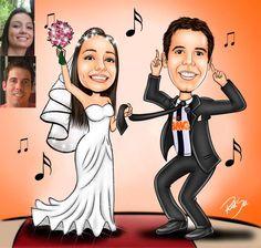 Caricaturas digitais, desenhos animados, ilustração, caricatura realista: Casal de noivos !!