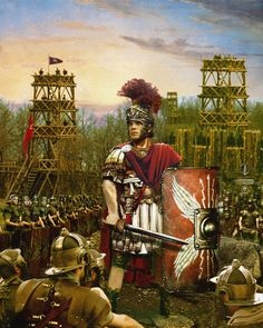 Howard David Johnson Julio - Cesar con escudo y con el gladius desenvainado