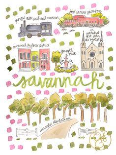 Savannah Map Print by EvelynHenson on Etsy