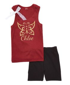 Love this Burgundy & Black Personalized Tank & Shorts  - Infant & Kids on #zulily! #zulilyfinds