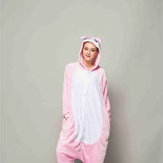 Adult Pajamas Animal Pink Rabbit Flannel Kigurumi Pajamas