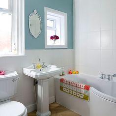 duck egg blue and white bathroom   Housetohome.co.uk - love the tiled walls