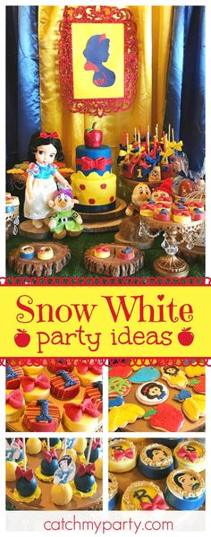 Take a look at this adorable Snow White Birthday party. The birthday cake is so … Take a look at this adorable Snow White Birthday party. The birthday cake is so beautiful! See more party ideas and share yours at CatchMyParty Baby Snow White, Snow White Cake, White Birthday Cakes, Snow White Birthday, Disney Princess Birthday Party, Girl Birthday, Birthday Diy, Birthday Ideas, 1st Birthdays