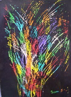 Moturoa's Blog: Fireworks art. Colour background. Paint with  black paint. When dry, scratch in to paint in firework designs.