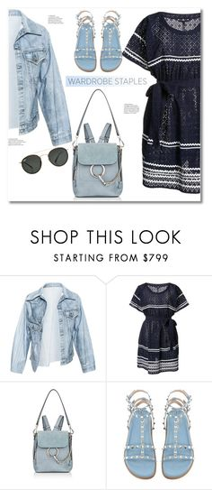 """Get the look"" by vkmd ❤ liked on Polyvore featuring Faustine Steinmetz, Lisa Marie Fernandez, Chloé, Ray-Ban and WardrobeStaples"