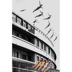Divers, Morecambe. Photo collage by Johnny Bean, 2019. Framed prints available at www.beanphoto.co.uk/shop