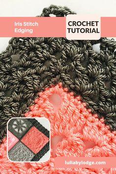 Pretty iris Stitch Edging, crochet pattern by Lullaby Lodge... Crochet Edging Patterns, Crochet Edgings, Crochet Borders, Afghan Patterns, Crochet Tutorials, Crochet Patterns For Beginners, Crochet Ideas, Crochet Toys, Free Crochet