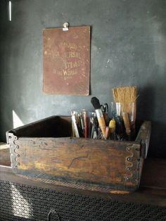 Vintage Machinist Wooden Crate/Drawer by therhubarbstudio on Etsy, $38.00
