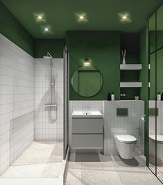 Apartment in Moscow _ Savelovskii City - Dezign Ark (Beta) Modern Bathroom, Small Bathroom, Bathroom Interior Design, Interior Decorating, Dark Green Bathrooms, Green Apartment, Bathroom Toilets, Washroom, Upstairs Bathrooms