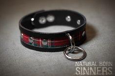 Tartan leather choker with o-ring  collar  от NaturalBornSinners
