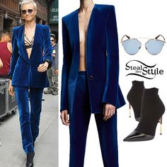 "Cara Delevingne promoted ""Valerian and the City of a Thousand Planets"" yesterday on The Late Show with Stephen Colbert, wearing a Mugler Pre-Fall 2017 Blazer & Pants (not available online), a pair of Balmain Aurore Booties ($948.00) and the Dior So Real Pop Sunglasses ($395.00).  You can get the look for less with NA-KD Velvet Blazer ($71.30) and matching Velvet Ankle Trousers ($47.50), and the Nine West Cadence 2 Boots ($39.99)."