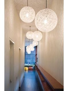 Design Inspiration for the Long Hall- Bubble Lights (Original is Random Light by Moooi). Modern Hall, Decor, Narrow Hallway, Foyer Decorating, Long Hall, Hall Design, Moooi Light, Hall Lighting, Home Decor