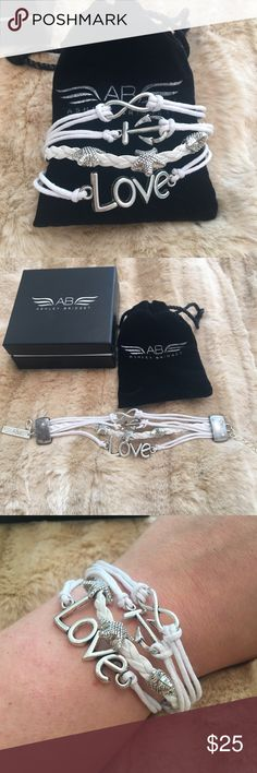 Ashely bridget Love bracelet Brand new designer Ashely Bridget bracelet!!! Comes in original packaging and with a dust bag to keep in. Happy poshing!! Adjustable Ashely bridget Jewelry Bracelets