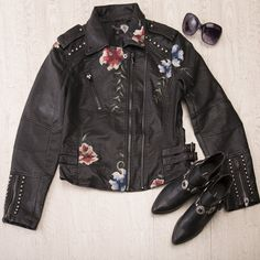 Faux Leather Embroidered Biker Jacket Motorcycle Jacket, Biker, Boho, Elegant, Chic, Leather, Jackets, Style, Fashion