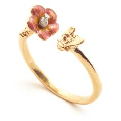 Bill Skinner Gold Tropical Bee Ring ($58) ❤ liked on Polyvore featuring jewelry, rings, red flower ring, gold ring, adjustable rings, bumble bee ring and bee ring