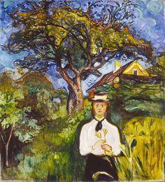 Edvard Munch (Norwegian; 1863–1944). Girl Under the Apple Tree. Oil on canvas, 1904. hat