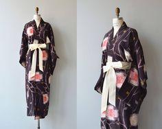 Cabbage Rose silk kimono antique 1940s kimono floral 20s