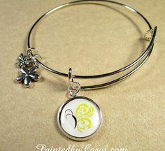 Gold Butterfly Charm Bracelet  Childhood Cancer by PaintedbyCarol