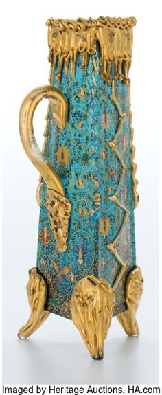 Glass with gilt and enameled decoration, Moser Glass Company, c. 1900.
