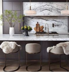 JUST GORGEOUS!! - THE MARBLE BACKSPLASH! - MARBLE BENCHTOP, GLORIOUS STOOLS WITH FUR THROWS, THE SUPERB COLOUR COMBO, ALL INCREDIBLY DIVINE! 💌