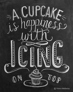 Bakery Print A Cupcake Is Happiness With Icing On by LilyandVal