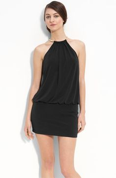 Laundry by Shelli Segal Jersey Minidress with Metal Halter Neck available at #Nordstrom