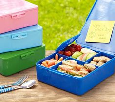 Spencer Bento Box Containers from Pottery Barn Kids. Love this to put inside Emry's PB Mackenzie lunch box. No more washing numerous tiny containers!!