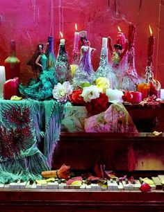Altars:  Pagan Altar.  Very inventive, with use of beautiful shawl for altar cloth.
