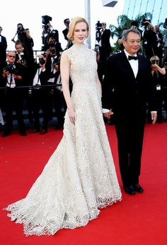 : Nicole Kidman accentuated her height and svelte figure in a neutral floral Valentino Couture gown at the Nebraska premiere at Cannes.