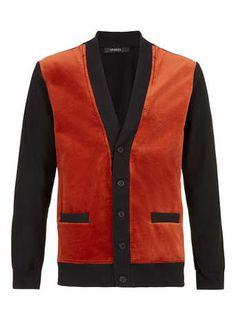 Sparks Velvet Panel Cardigan* - Men's Jumpers & Cardigans  - Clothing