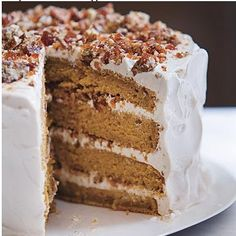 Pumpkin Cake with Whipped Cream and Pecan Praline- needs REAL frosting to make it out of this world!