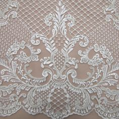 Tecido renda bordada imperial off white - Maximus Tecidos | Loja Online