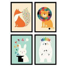 4 art-posters 20 x 30 cm - baby animals - andy westface Art Wall Kids, Art For Kids, Wall Art, Art Children, Animals For Kids, Baby Animals, Kunst Poster, Cute Whales, Budget