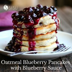 Happy National Pancake day and Tasty Tuesday!  Today on the blog we have a delicious recipe for oatmeal blueberry pancakes with blueberry sauce!! YUM