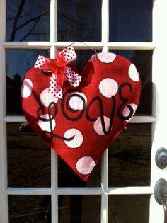 Burlap Heart Door Hanger