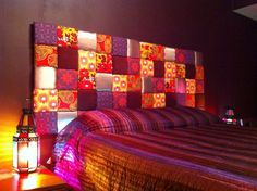 Padded Patchwork Headboard. We're trying to create a modern Morrocan kinda feel in e bedroom and have been working on this for a while. Voila' the fruits of our labour!