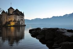Montreux, Vaud, Switzerland, Geneva Lake, sunset