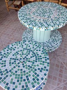 All Details You Need to Know About Home Decoration - Modern Diy Cable Spool Table, Wooden Spool Tables, Wood Spool, Wooden Cable Reel, Wooden Cable Spools, Mosaic Furniture, Diy Furniture, Mosaic Art, Mosaic Glass