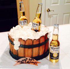 Wood ice bucket, beer cake Surprise 30th Birthday, Birthday Cake For Him, Hubby Birthday, 40th Birthday Parties, Ice Bucket Cake, Corona Cake, Alcohol Cake, Grown Up Parties, Boyfriend Anniversary Gifts