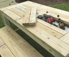 Constructed from Pressure Treated or Cedar Lumber. These table are built to last with a lifetime warrantee on the deck screws! Each cooler bay has enough space to hold a 12 oz. cans and bottles Handmade and made to order. Floating Picnic Table, Diy Picnic Table, Deck Table, Outdoor Dining, Outdoor Tables, Cedar Lumber, Diy Pallet Furniture, Barn Wood, Backyard