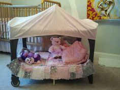 Old pack n play :Cut out one side of net,top with fitted crib sheet and you have a reading area or sleeping area for your toddler:)