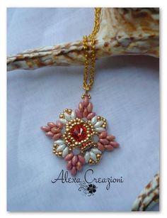 Beaded Cross pendant -  Alexa Creazioni