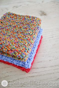 Felted Button - Colorful Crochet Patterns: Mama's Wash Cloths--Free Crochet Pattern