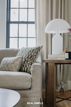 30 Easy and Unique Living Room Decorating Ideas | A neutral living room gets a bit of contrast from black window frames. The designers at J. Miller Interiors are masters at making clean lines and tone-on-tone texture feel relaxing and calming, yet still fresh. A simple living room design can be elevated by throwing in one element that feels unexpected. #realsimple #livingroomdecor #livingroomideas #details #homedecorinspo Colourful Living Room, Living Room Green, Cozy Living Rooms, Living Room Decor, Green Accent Walls, Black Window Frames, Eclectic Decor, Living Room Designs, Family Room