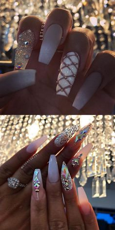 42 elegant nail art designs for prom 2019 47 ~ com is part of Cute nails Teal Coral - Cute nails Teal Coral Glam Nails, Dope Nails, Bling Nails, Glitter Nails, My Nails, Stud Nails, Cute Acrylic Nails, Acrylic Nail Designs, Nail Art Designs