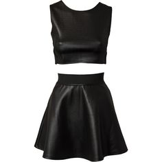 Estradeur Pu Twin Set (€27) found on Polyvore featuring women's fashion, dresses, skirts, tops, outfits, two pieces, black, party dresses, womens-fashion and two piece cocktail dresses