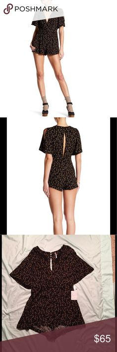 NWT FP Meet Virginia Split Sleeve Romper New with tags!! I can't say enough about this romper. Beautifully patterned with deep v neckline and a sexy slit down the back fastened with three pairs of buttons at the back of the neck and waist. This has to be a part of your wardrobe! Reasonable offers accepted 💕 Free People Other
